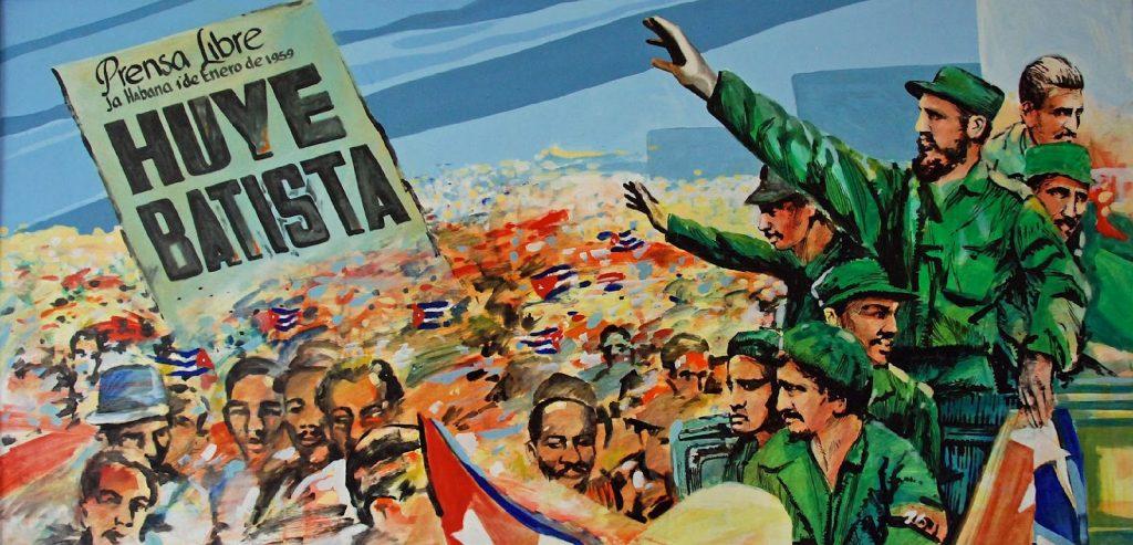 86 Cuba - Havana Centro - Museo de la Revolucion - revolutionary mural with the slogan Prensa Libre La Habana I de Enero de 1959 Huye Batista